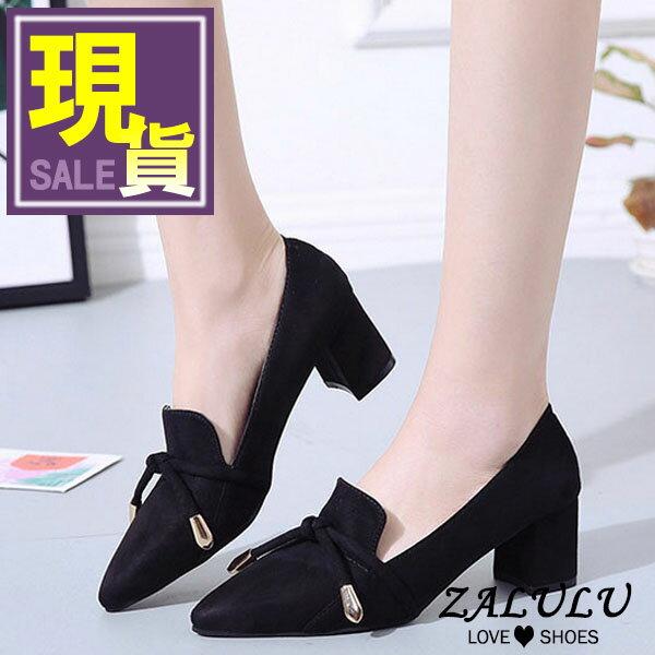 ZALULU愛鞋館7CE113預購+現貨英倫經典款繫繩尖頭美型跟鞋-杏黑-35-39