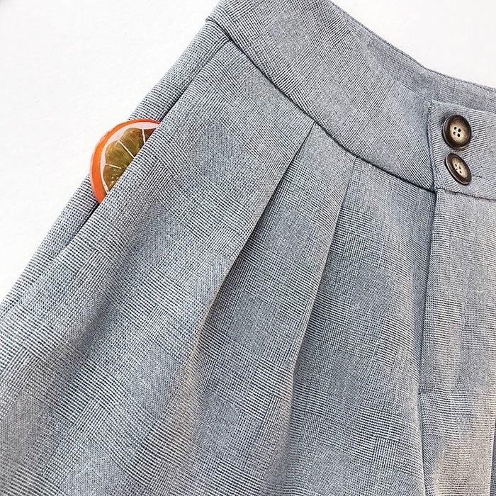 短褲 素色 雙釦 寬版腰 壓摺 寬管褲 百搭 短褲【HA850】 BOBI  02 / 14 9