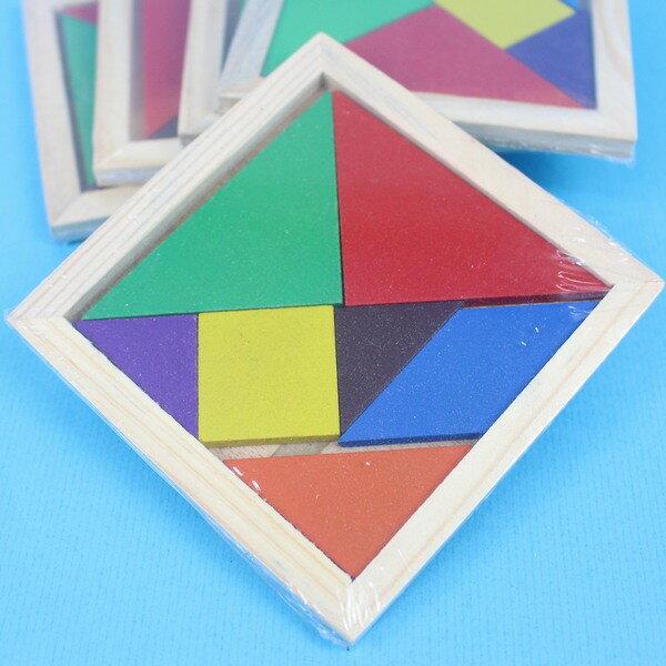 木製七巧板 益智七巧板遊戲(中方形)/一個入{定20} 10cm x 10cm 七巧板圖形 木製七巧板拼圖 YF6508.AA5894