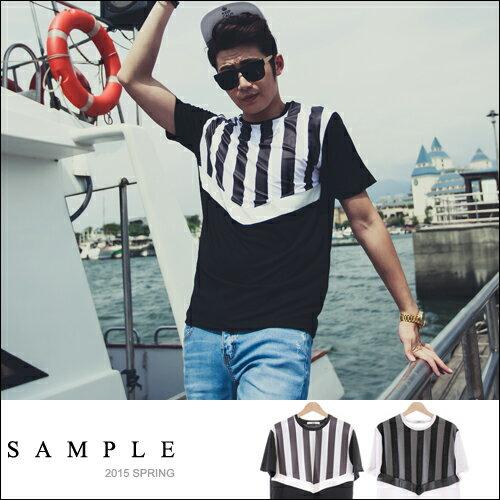 現貨 潮T【SA12711】韓國製 半身直條紋皮革拼接寬版短袖T恤【Sample】-KHOON