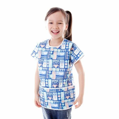 Baby City娃娃城 - 防水短袖畫畫衣(3-5A) 藍色機器人 2