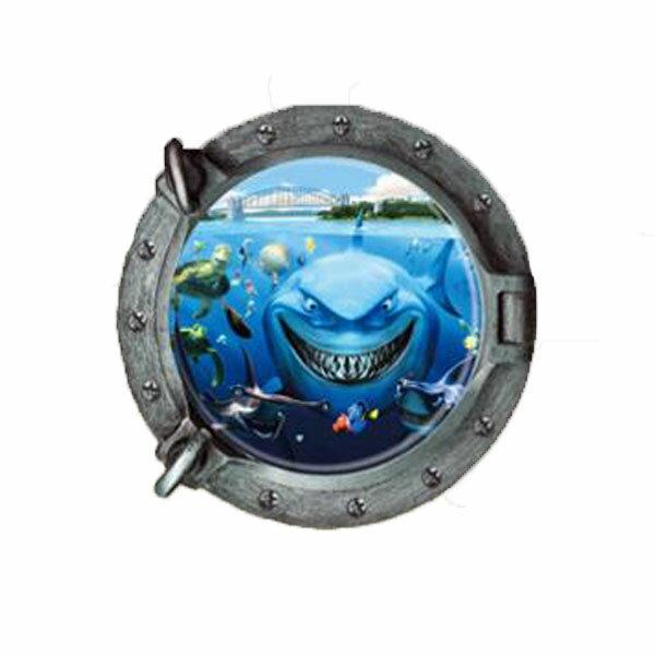 BO雜貨【YV0023-1】創意可移動壁貼窗景貼居家裝飾時尚組合壁貼室內佈置3D立體鯊魚Z-2-001