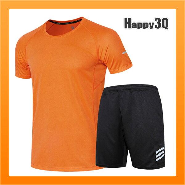運動套裝短褲短袖長衣反光條夜晚跑步夜跑安全重訓運動服-多色M-4XL【AAA4490】