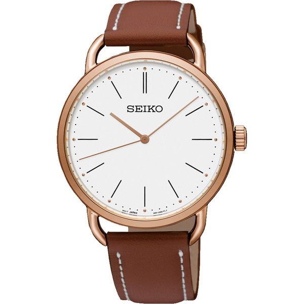 Seiko精工錶6N01-00B0K(SUR238P1)大三針經典簡約超薄腕錶咖38mm