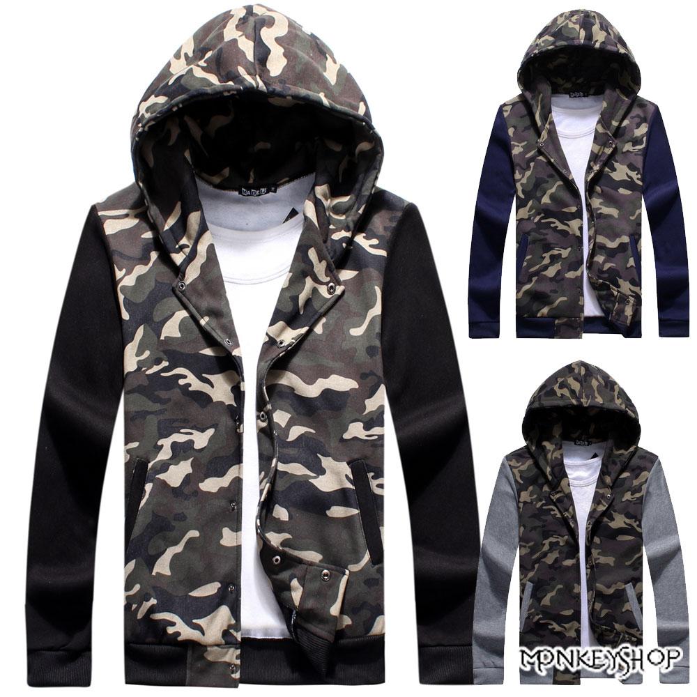 【M30082】潮流嚴選迷彩保暖刷毛棉質連帽迷彩外套-3色《Monkey Shop》