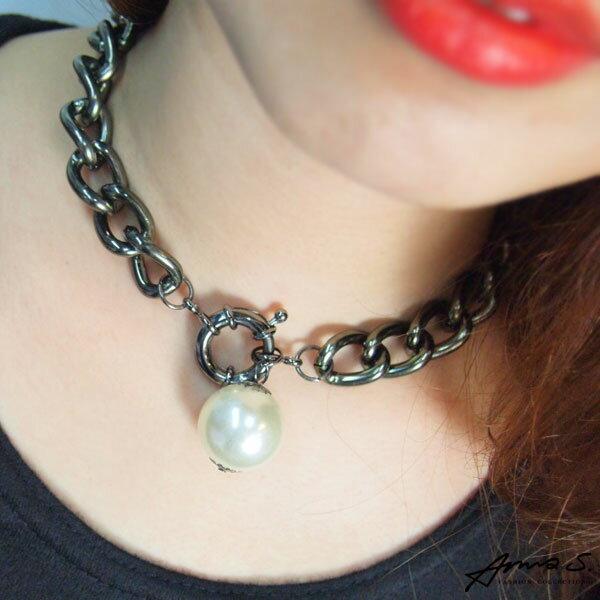 正韓 鐵灰大珍珠鎖鏈 小香短鏈 鎖骨鏈 項鍊 韓劇穿搭-Anna S.