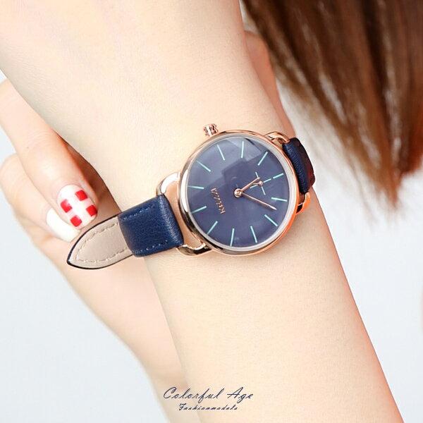 手錶 十字秒針皮革腕錶【NE1976】 柒彩年代