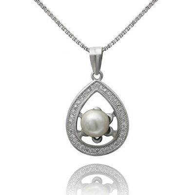 925純銀項鍊 珍珠吊墜~水滴形 優雅鑲鑽情人節生日 女飾品73dh36~ ~~米蘭 ~