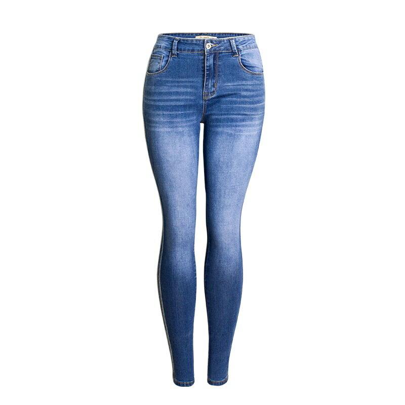 牛仔褲丹寧小腳褲-側邊條紋中腰藍色女長褲73wx22【獨家進口】【米蘭精品】 0