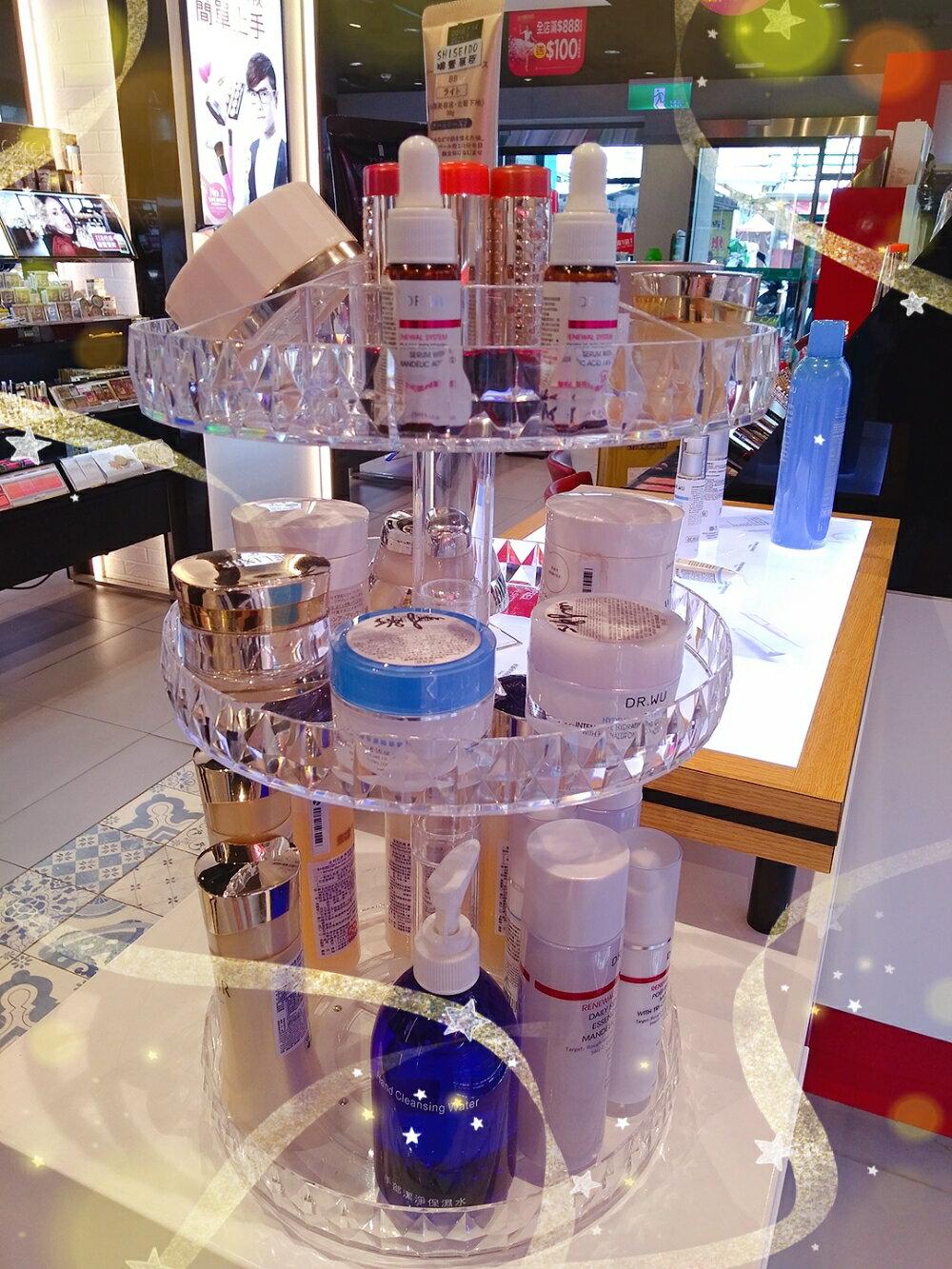 (Super Sale 超取免運) 360度自有旋轉 鑽石加大化妝品收納盒 透明壓克力旋轉置物架 桌面護膚品化妝台收納整