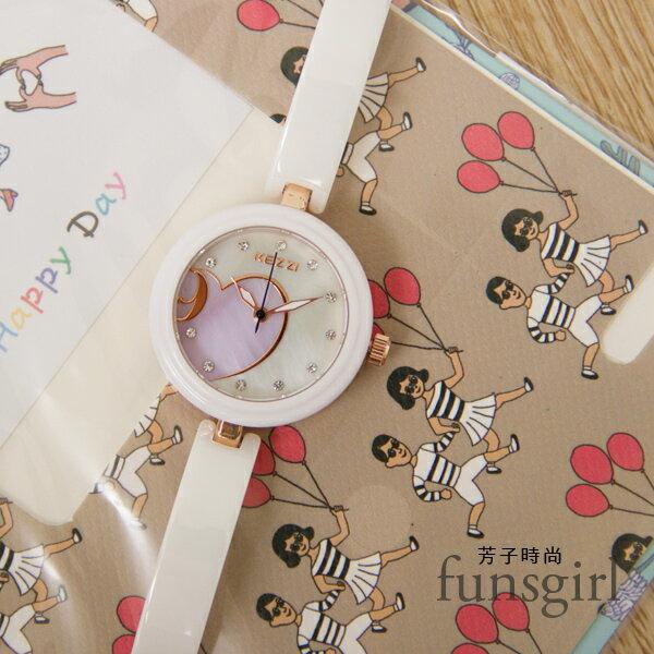 金邊愛心亮鑽白色陶瓷錶帶手錶腕錶~funsgirl芳子時尚【B230035】