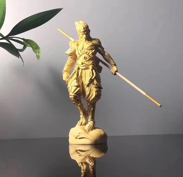 黃楊木描金木雕把件家居飾品雕刻崖柏猴子擺件齊天大圣孫悟空擺件1入