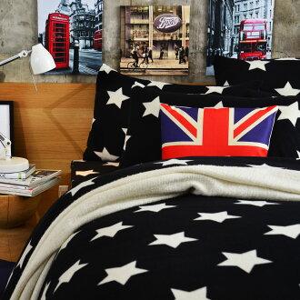 Pure One 超保暖搖粒絨 - 迷戀星-黑 @ 雙人四件式床包被套組 @ 台灣製 @ SGS檢驗合格