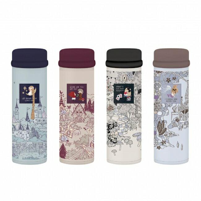 日本加藤真治小紅帽愛麗絲長髮公主人魚保溫瓶水瓶350ml素描290974代購