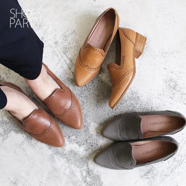【P2-18911L】外尖內圓真皮沖孔中跟牛津鞋_ShoesParty