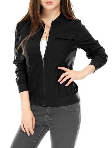 Unique Bargains Women's Zip Fastening Front Multi-Pocket Lightweight Bomber Jacket Black (Size L / 14) 875f15e4560d336842541c775dbd812f