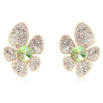 ~水晶耳環~~925純銀~耳針式~精緻鑲鑽亮麗花朵母親節生日情人節 女飾品5色73bd54