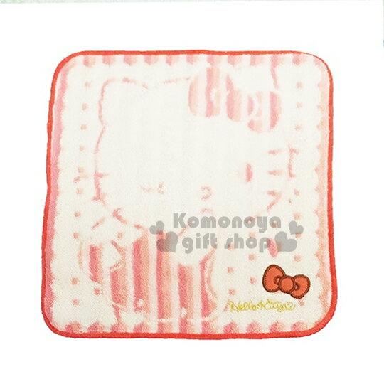 〔小禮堂〕Hello Kitty 圓角小方巾《紅.蝴蝶結.點點.條紋.25x25cm》純棉舒適