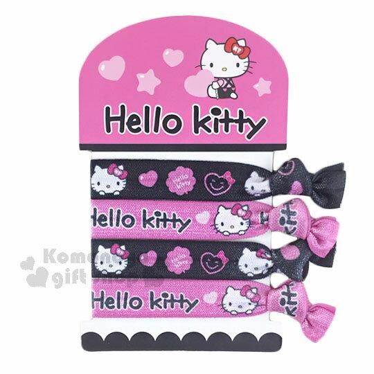 〔小禮堂〕Hello Kitty 綁式彈力髮束~4入.粉黑.愛心.大臉.寬版~髮圈