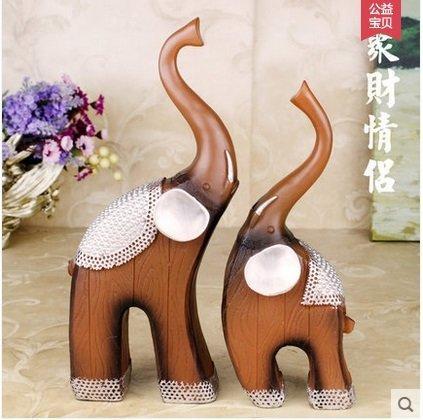 仿實木大象歐式家居飾品樹脂工藝品客廳裝飾品時尚創意擺件一對