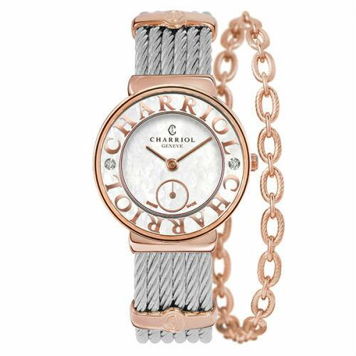 CHARRIOL夏利豪(ST30PCD1560030)雙鑽玫瑰金花朵小秒針鋼索腕錶30mm