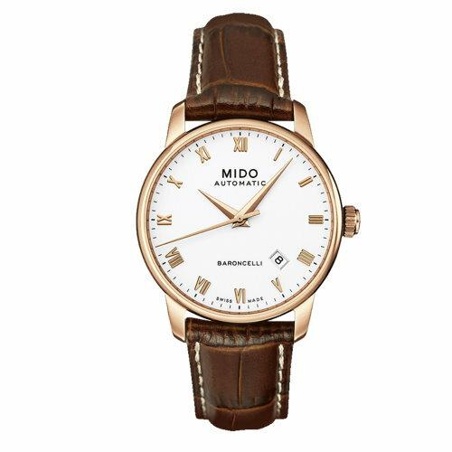 MIDO Baroncelli 玫瑰金機械男皮帶錶/M86002268