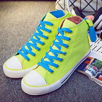 帆布鞋 休閒鞋-韓風時可愛果搪色高筒平底女鞋子5色72ac12【獨家進口】【米蘭精品】