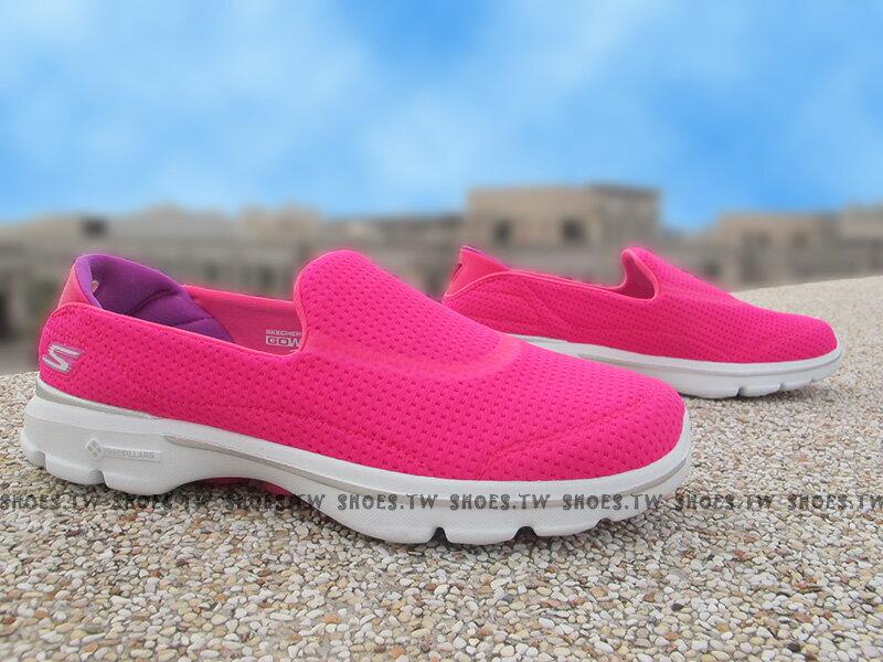《下殺6折》Shoestw【14047HPK】SKECHERS 健走鞋 輕便鞋 GO WALK 桃紅 柔軟 小方格 女款