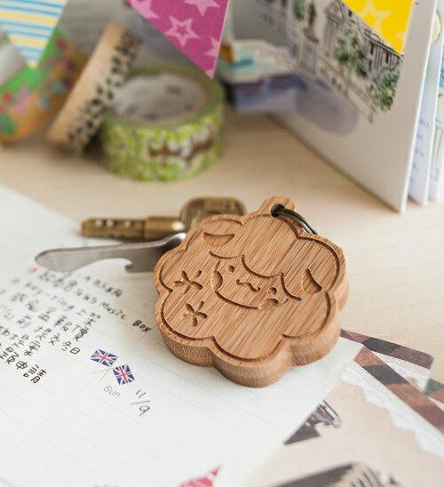 幸福森林.竹製可愛動物鑰匙圈 客製化禮物 綿羊小孩