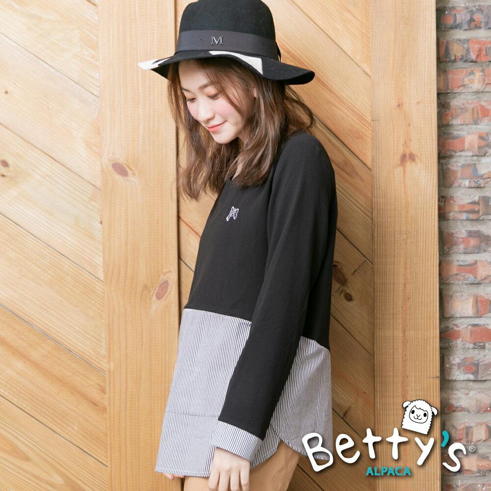 betty's貝蒂思Outlet 條紋拼接蝴蝶刺繡上衣(黑色) ►夏日Fun價   指定款任2件85折