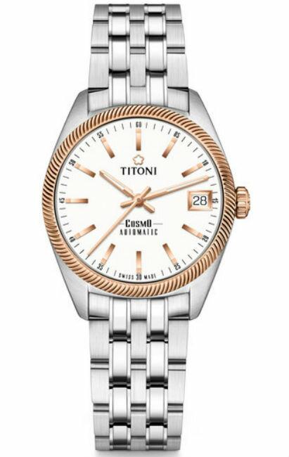 TITONI 瑞士梅花錶 828SRG-606 宇宙系列 COSMO_SER. 時尚機械腕錶/白面 33.5mm