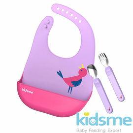 【圍兜x1+湯匙x1+叉子x1】Kidsme-萌寶食具套裝組(紫紅色)368元