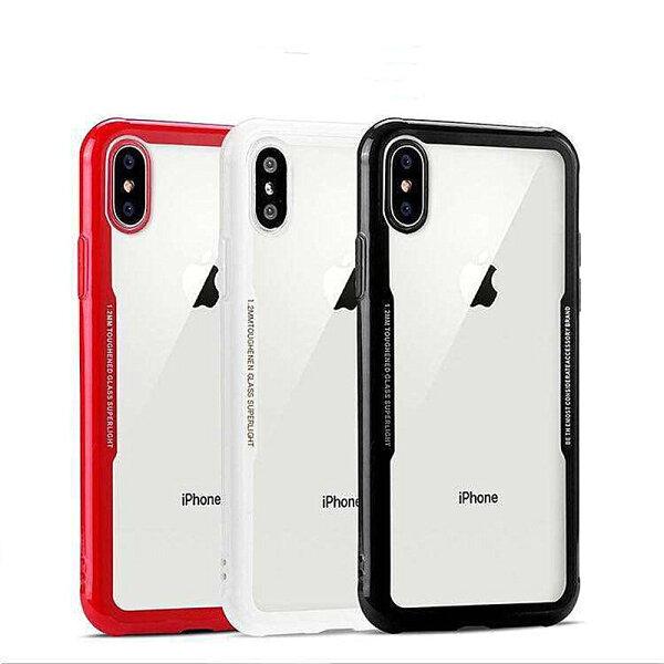 現貨純色iPhoneX876黑白玻璃殼iX手機殼i8手機殼高鋁玻璃鏡面i7保護套i6手機套可掛繩【GP美貼】