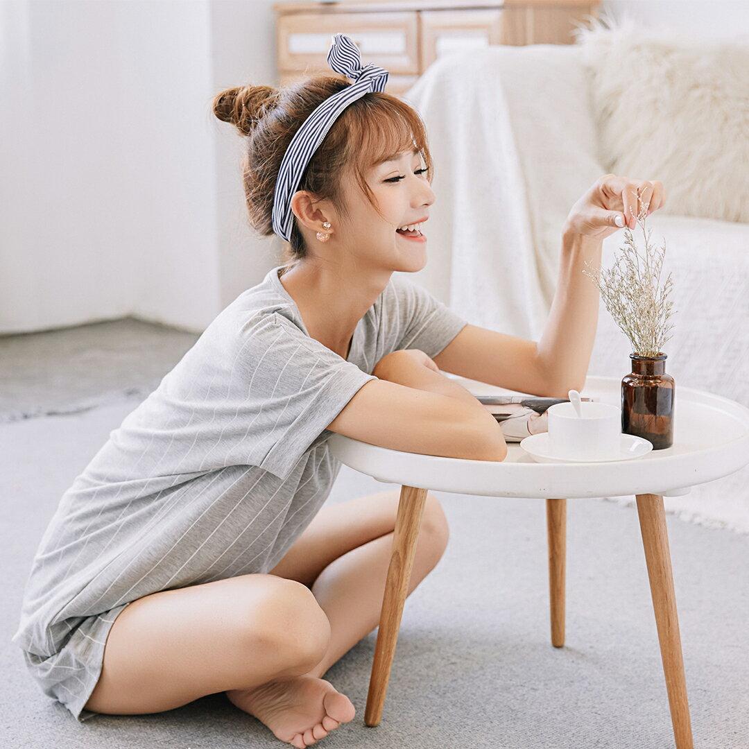 小清新流行居家服 純棉短袖短褲睡衣 直條紋家居服 休閒套裝 共兩色M-XL【漫時光】(87041L) 6