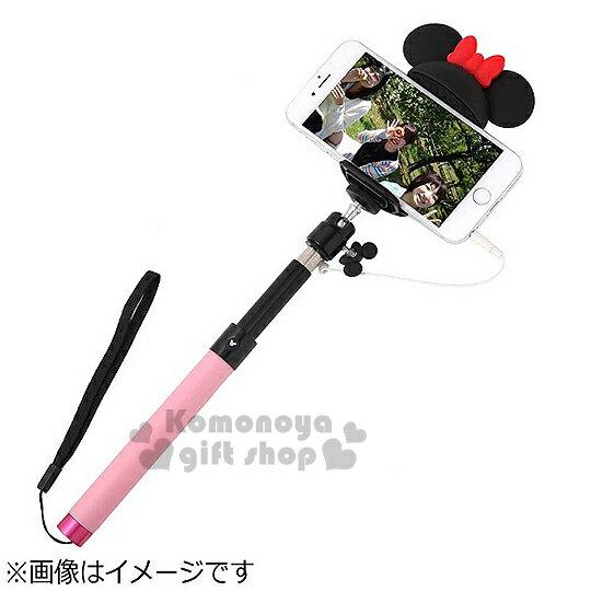 〔小禮堂〕Hemee x 迪士尼 米妮 造型線控自拍棒《黑.粉棒.大耳朵》可延伸至95cm
