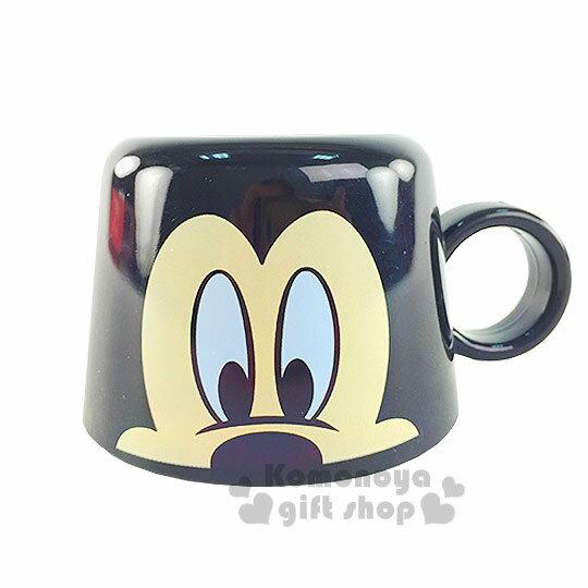 〔小禮堂〕迪士尼 米奇 寶特瓶專用杯蓋《黑.大臉.140ml》