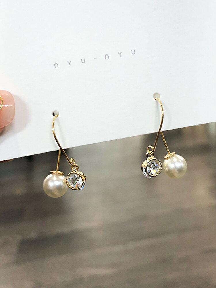 韓國新款東大門耳環時尚氣質個性簡約百搭網紅耳墜珍珠耳釘女純銀1入