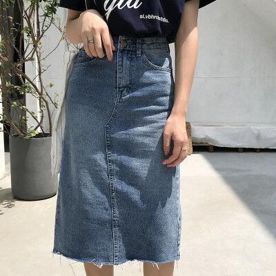 韓系女裝chic後背開叉包臀A字裙高腰過膝牛仔裙樂天時尚館。預購