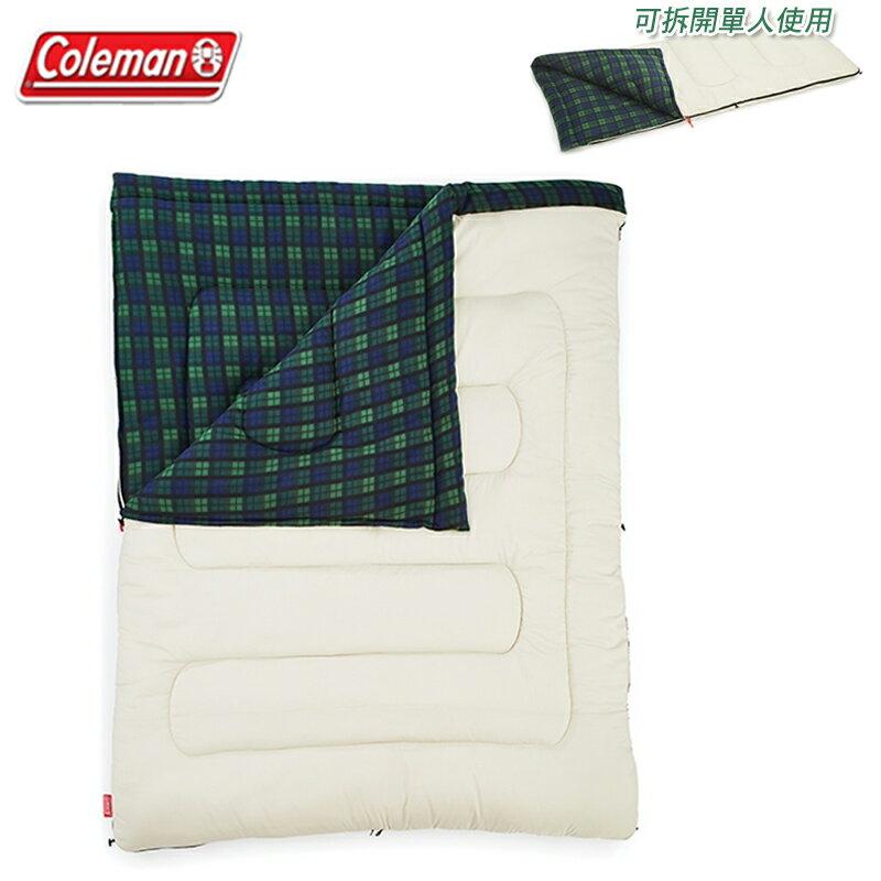 【露營趣】Coleman CM-33804 冒險者橄欖格紋刷毛睡袋/C0 可拆式 化纖睡袋 纖維睡袋 信封型睡袋 雙人睡袋 單人睡袋