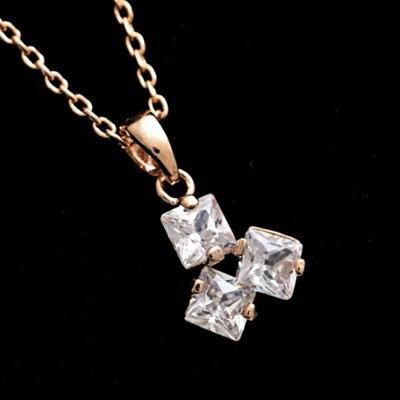 玫瑰金項鍊 水晶純銀吊墜~幾何正方形簡約百搭情人節生日 女飾品73dw168~ ~~米蘭