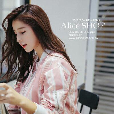 ~Alice Shop 愛麗絲~  粉色條紋拼接立領長袖棒球外套~pg53595~ ~