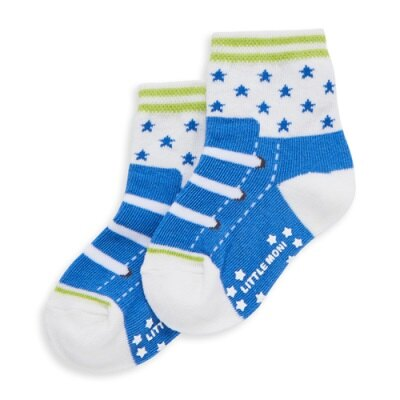 Little moni 星星鞋子造型短襪 (道奇藍)