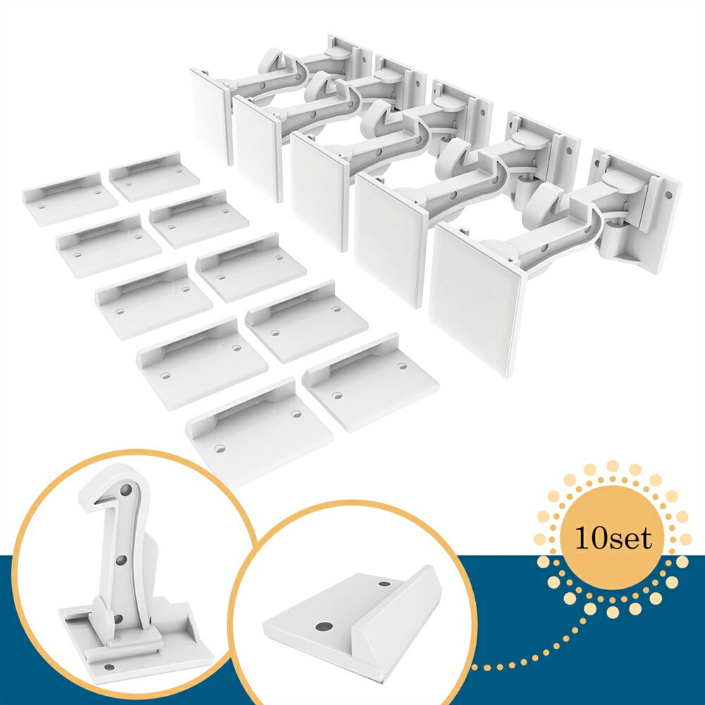 Cabinet Locks Child Safety Cabinet Latches Locks, 10 Packs, Easy to Install, No Tools or Drilling Needed, Invisible Design, with Buckles and Screws - White 5