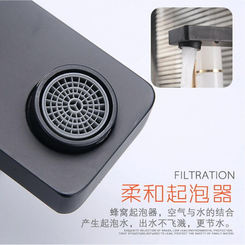 不銹鋼黑色衛生間洗臉盆水龍頭 冷熱混水浴室四方單