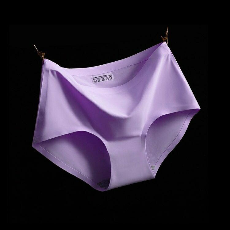 317190#A10淺紫 M冰絲無痕中腰純色性感女仕內褲 中大尺碼 # 一片式