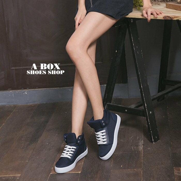 格子舖*【KBP-89】MIT台灣製 經典百搭女款高筒綁帶布面休閒鞋 滑板鞋 帆布鞋 2色 1