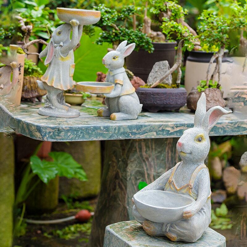 花園裝飾 庭院創意戶外園藝裝飾動物 多肉植物花盆樹脂兔子擺件