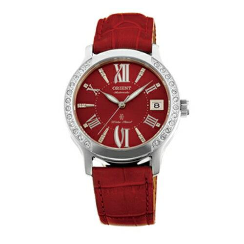 ORIENT 東方錶 ELEGANT系列 優雅鑲鑽機械皮帶錶/紅/FER2E006R