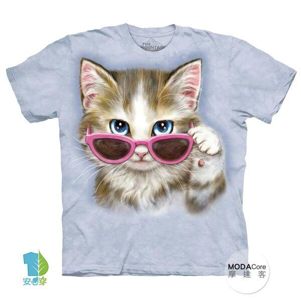 【摩達客】(預購)美國進口TheMountain粉紅眼鏡貓純棉環保藝術中性短袖T恤