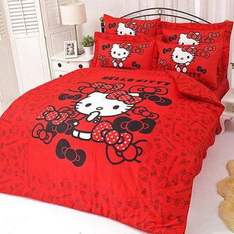 【享夢城堡】HELLO KITTY 我的小可愛系列-雙人純棉四件式床包涼被組(粉)(紅)